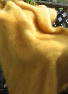 GOLDEN YELLOW / NZ Mohair Throw Blanket Winter/Weight