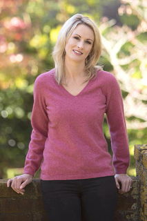 V Neck Plain Sweater Possum Merino Silk NB396/Native world