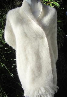 Bridal Wraps / Cream Alpaca or Mohair, Raw Silk Edging 2 sides