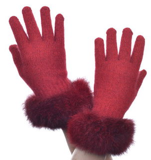 Fur Trim Glove Possum Merino Silk McDONALD/6028