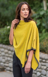 Two Tone Poncho in Possum Merino Silk MERINOMINK/1623