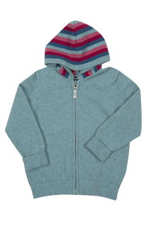 Childs Striped Zip Hoody Possum Merino Silk NB712/Native World