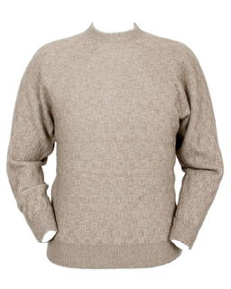 Men's Crew Neck Purl Jumper Possum Merino LOTHLORIAN/9801