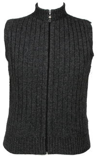 Men's Rib Zip Vest in Possum Merino LOTHLORIAN/9823