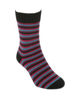 Multi Striped Sock in Possum Merino LOTHLORIAN/9953
