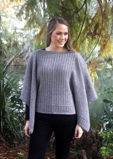 Button Poncho in Possum Merino LOTHLORIAN/9981