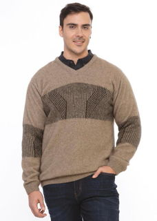 Plated Weave V Jumper Possum Merino KORU/K0843