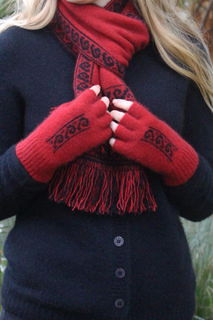 Koru Fingerless Glove NZ Possum Merino LOTHLORIAN/9948