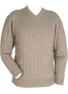 Men's V Neck Rib Jumper NZ Possum Merino LOTHLORIAN/9960
