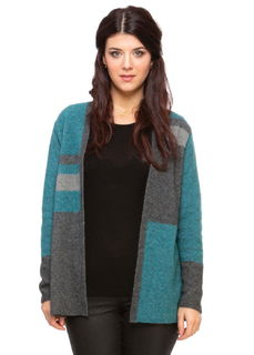 Colour Block Jacket in Possum Merino Silk KORU/K0521