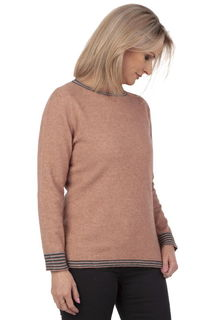 Crew Neck Striped Sweater in Possum Merino Silk NB747/Nativeworld