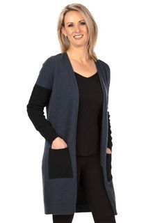 Textured Longline Cardigan in Possum Merino Silk NB746/Nativeworld