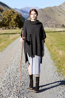 Step Hem Poncho in Possum Merino Silk McDonald/5030