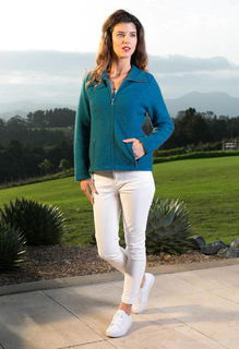 Shaped Zip Jacket in Possum Merino Silk KORU/K0478