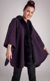 Fur Trim Cape in NZ Possum Merino Silk KORU/K089