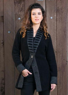 Fancy Collar Cardi in Possum Merino Silk KORU/K0745
