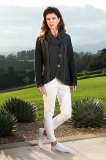 Cable Marl Jacket in Possum Merino Silk KORU/K0734