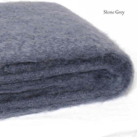 STONE GREY / NZ Mohair Throw Blanket Winter/Weight