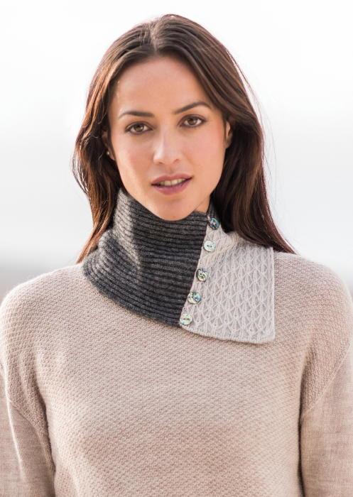 Lace Neck Warmer Style 0324 Merinomink Nz Possum Fur
