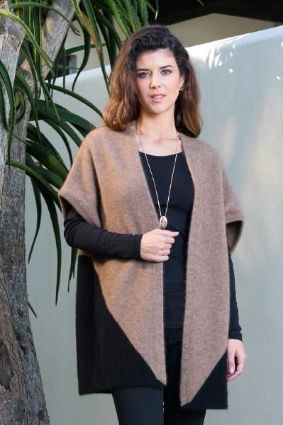 Two Tone Shrug in Possum Merino Silk KORU/K0781