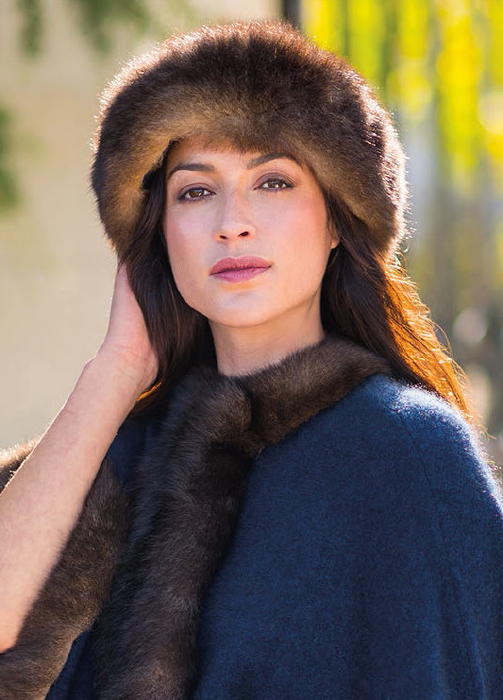 Fur Trim Hat in Possum Merino Silk MERINOMINK/0331