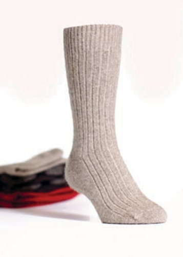 Ribbed Socks in NZ Possum Merino Silk KORU/K071