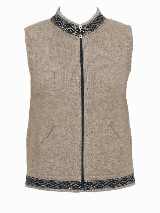 Motif Zip Vest with Pockets Possum Merino LOTHLORIAN/9973