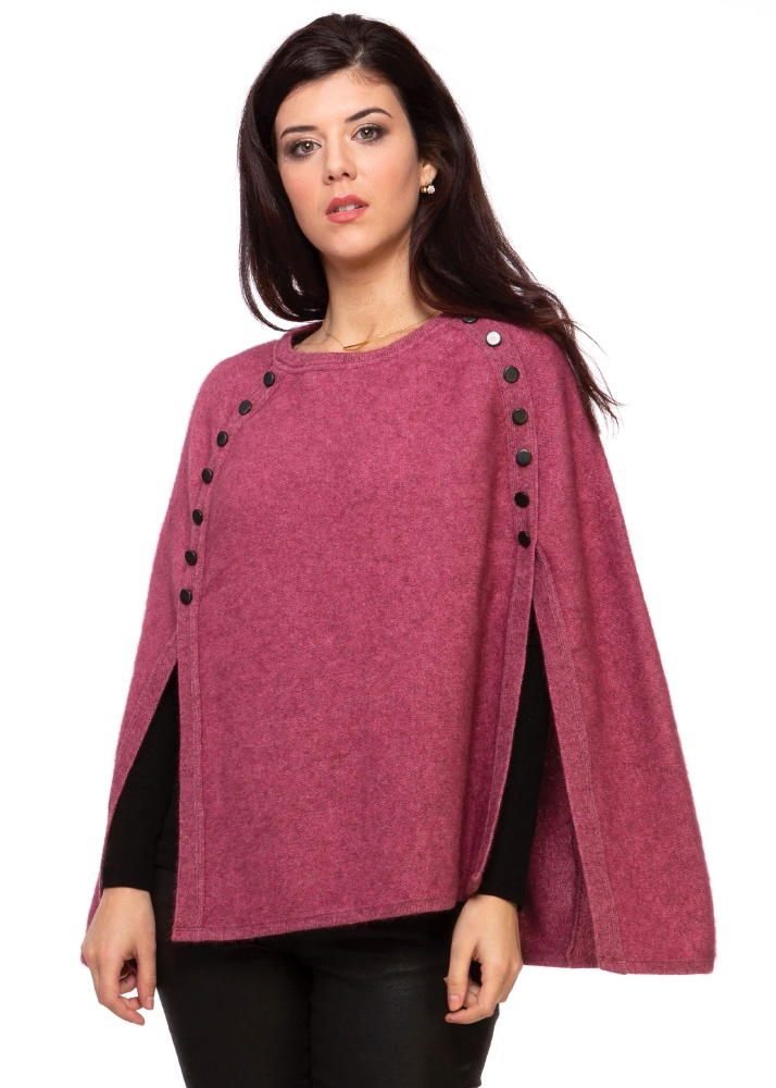 Button Trim Poncho in Possum Merino Silk KORU/K0510