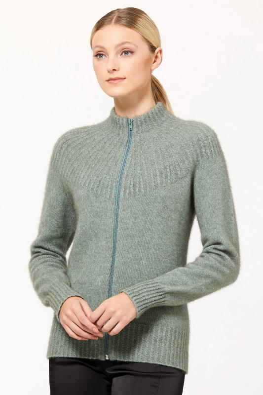 Yoke Neck Cable Jacket, Possum Merino Silk McDONALD/5018