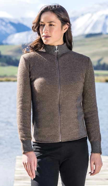 Mt Cook Jacket in Possum Merino Silk MERINOMINK/1863