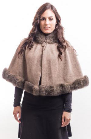 Possum Merino Silk Cape / Possum Fur Trim McDONALD/6148