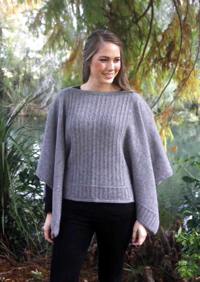9981 Button Poncho In Possum Merino Knitwear Clothing