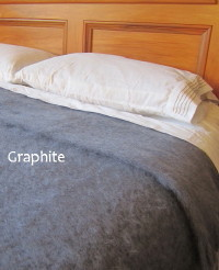 Heirloom Weavers NZ Mohair Blankets Graphite
